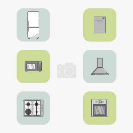 Set of six vector icons of home appliances in flat style and square frames.