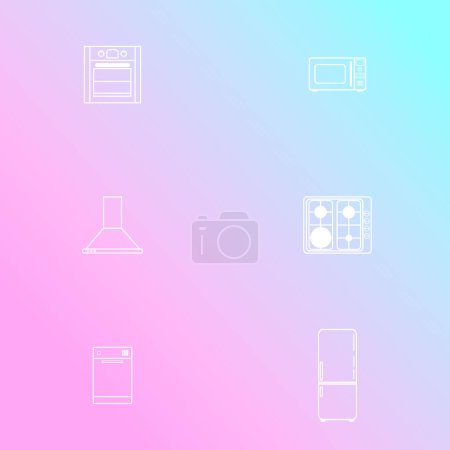 Set of icons of home appliances in flat style. Simple icons on gradient background. Vector illustration.
