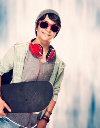 Teen skateboarder portrait