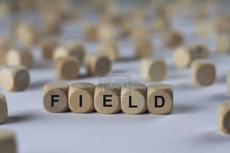 Feldwürfel mit Buchstaben, Zeichen mit Holzwürfeln