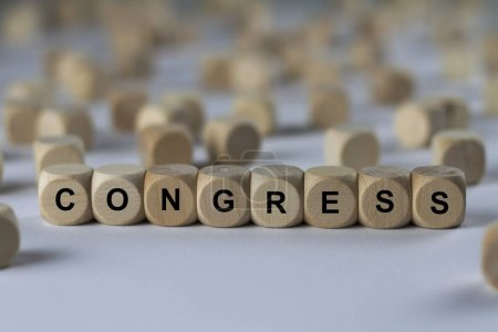 congress   cube with letters, sign with wooden cubes
