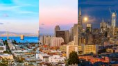 Day to night timelapse timeslice San Franciso panorama with full