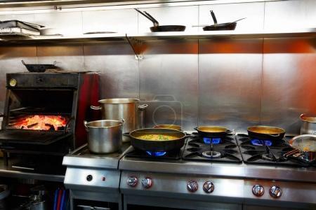 Mediterranean kitchen indoor with paella