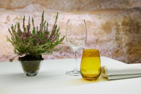 Photo for Restaurant table with mediterranean herbs and stone background - Royalty Free Image