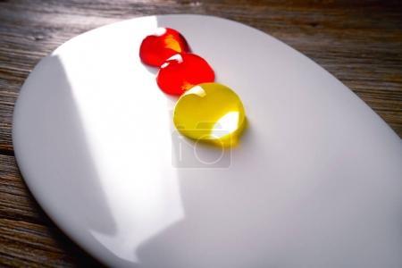 Molecular cuisine concept spheritions jelly texture