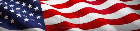 Photo pour Drapeau américain vague fermer vers le haut pour Memorial Day ou 4th of July - image libre de droit