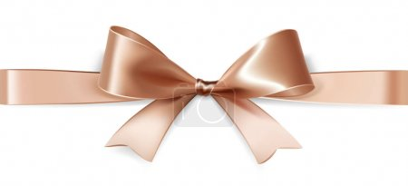 Illustration for Beige satin bow isolated on white background. Vector - Royalty Free Image