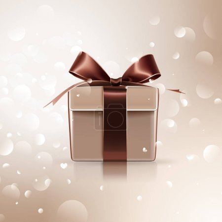 Illustration for Gift with brown bow on light background. Vector illustration - Royalty Free Image