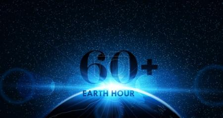 Illustration for Planet earth with sunrise in space. Earth Hour. Vector illustration - Royalty Free Image