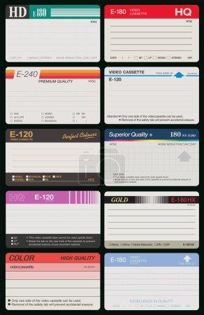 Vector illustration of ten differents VHS labels...