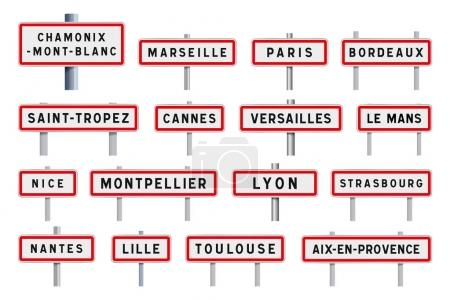 French cities road signs entrance