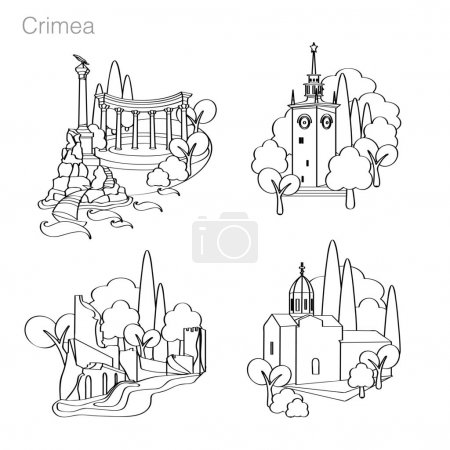 Landmarks of Crimea. Set of icons. Drawing vector ...
