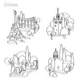 Landmarks of Crimea Set of icons Drawing vector illustration