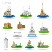 Set of color Crimea icons Drawing vector illustration