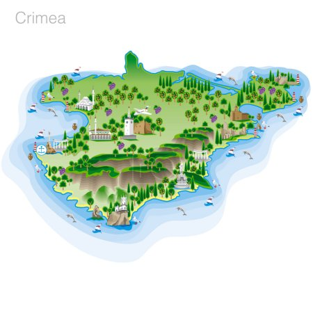 Drawing of color Crimea tourist map. Vector illust...