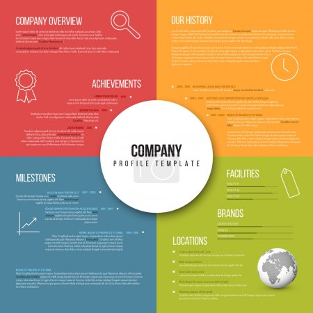 Illustration for Vector Company infographic overview design template fresh color version with icons, shadows and nice typography - Royalty Free Image
