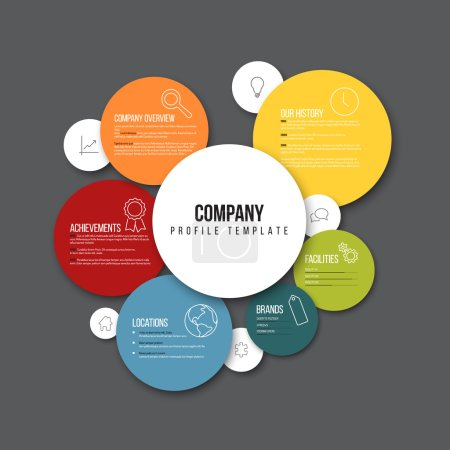 Illustration for Vector Company infographic overview design template with content in the colorful circles - dark version - Royalty Free Image