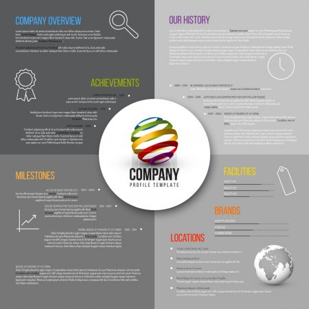 Illustration for Vector Company infographic overview design template gray version with icons, shadows and nice typography - Royalty Free Image