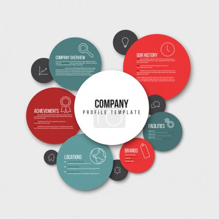 Illustration for Vector Company infographic overview design template with content in circles - light version - Royalty Free Image