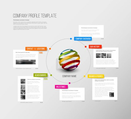 Illustration for Vector Company infographic overview design template with colorful labels and white blocks - Royalty Free Image