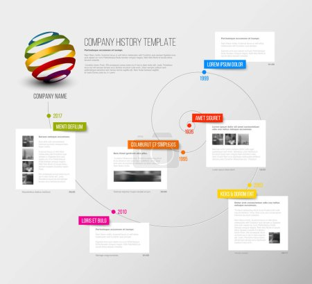 Illustration for Vector Company infographic overview design template with colorful labels and white blocks on a time spiral - Royalty Free Image