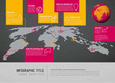 World map with pointer marks and icons - communication concept dark yellow pink version