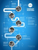 Vector Infographic Company Milestones Timeline Template with circle photo placeholders on a thick line - vertical blueprint version