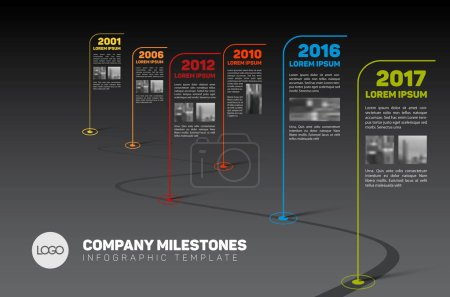 Illustration pour Vector infographie société jalons Timeline Template avec drapeau des pointeurs et des espaces réservés de photo sur une ligne de route incurvée - version noire - image libre de droit