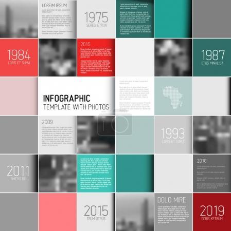 Ilustración de Plantilla de diseño de infografía vector mosaico cuadrado con foto y texto marcadores de posición - versión roja y teal - Imagen libre de derechos