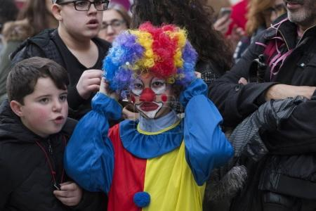 LOULE, PORTUGAL - FEBRUARY  2018: Colorful Carnival festival participants on Loule city, Portugal.