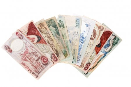 Obsolete bank notes isolated on white background