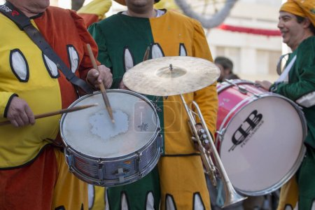 LOULE, PORTUGAL - FEBRUARY 2018: Colorful Carnival Parade festival participants on Loule city, Portugal