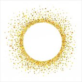 Circular frame with golden confetti on a white background