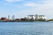 Chemical plant by the sea
