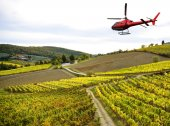 Helicopter tour over Chianti region landscape in Tuscany
