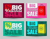 valentine day big sale signs pink and green with paper bag for stickers card banner background boutique vector illustration