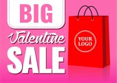 valentine day big sale sign with paper bag for stickers card banner background boutique vector illustration