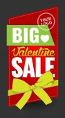 valentine day big sale sign with bow for stickers card banner background boutique vector illustration