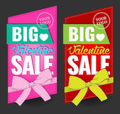 valentine day big sale signs with bow for stickers card banner background boutique vector illustration