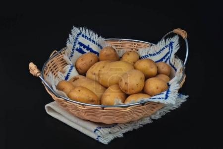 Organic potatoes in the basket on black background