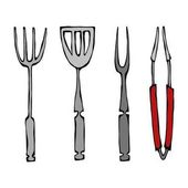 Baking Equipment or Barbeque Tools Tongs for BBQ Fork and Spatula Isolated On a White Background Realistic Doodle Cartoon Style Hand Drawn Sketch Vector Illustration