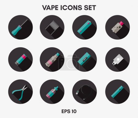 Illustration for Vape icons set on a white background. Can be used for advertising vape shop, electronic cigarettes store.Vector Illustration. - Royalty Free Image