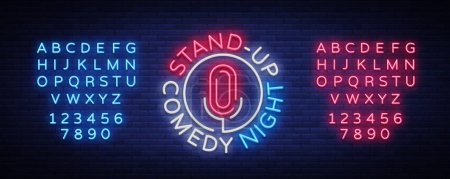 Illustration for Stand Up Comedy Show is a neon sign. Neon logo, bright luminous banner, neon poster, bright night-time advertisement. Stand up show. Invitation to the Comedy Show. Vector. Editing text neon sign. - Royalty Free Image