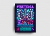 Rock music concert poster vector Design Template Rock Music Festival Neon Style Neon Banner Light Flyer Concert Invitation Rock Roll Music Night Party Invitation Vector illustration