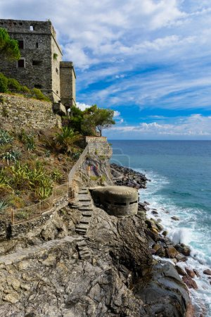 Dawn Tower overlooking the sea in Monterosso, Cinque Terre, Italy.