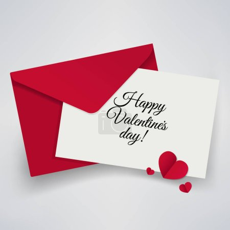 Illustration for Valentines Day paper card with envelope, vector, illustration - Royalty Free Image