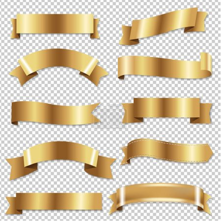 Illustration for Golden Ribbons Set, Vector Illustration - Royalty Free Image
