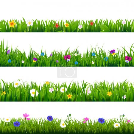 Illustration for Grass And Flowers Border Set isolated on white background, Vector Illustration - Royalty Free Image