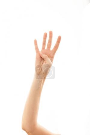 Photo pour Main de caucasien humain montrant quatre, isolé sur fond blanc . - image libre de droit