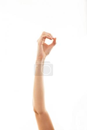 Photo for Hand of caucasian human showing zero, isolated on white background. - Royalty Free Image